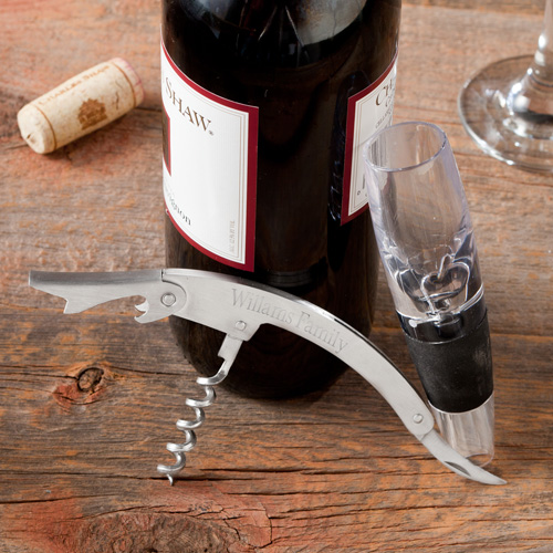 Wine Aerator and Personalized Cork Screw Set