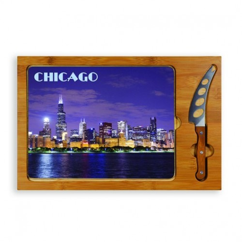 Chicago  - Rectangular Glass Top Cutting Board w/ knife